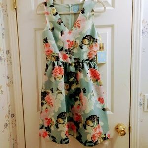 NWT CeCe Green and Pink floral dress